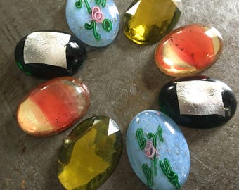 Vintage Glass Cabs Four Matched Pairs 18x25mm Rose Bower Assortment