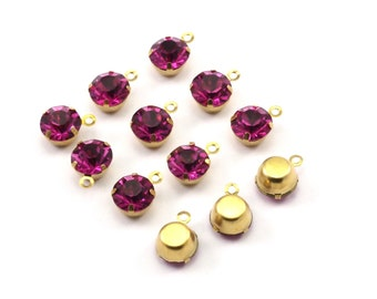 Fuchsia Rhinestone Charms, 12 Fuchsia Rhinestone Charms with Raw Brass Setting for SS34 (7.3mm)  Y363