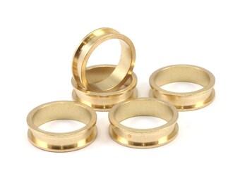 Brass Channel Ring - 10 Raw Brass Channel Ring Settings (15mm) N480