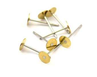 Stainless Steel Post, Pad, 100 Stainless Steel Earring Posts With Raw Brass 5mm Flat Pad, Ear Studs A0460