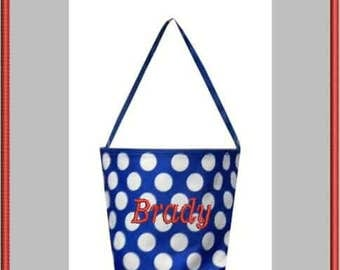 Royal Blue Polka Dot Easter Bucket.  Personalized Halloween Bucket. Boys Easter Basket.  Kids Easter OR Halloween Tote Bag.