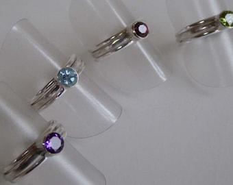 gemstone silver stacking rings size J topaz garnet peridot amethyst
