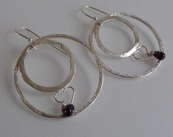 Garnet, hearts, Argentium silver round earrings