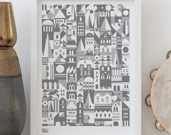 Geometric Print, Coming Home Scandinavian Print, Home Print, A4, Home Style, Geometric Wall Art
