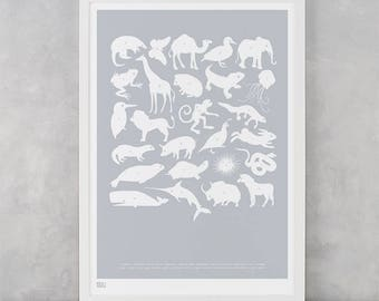 Animal Print, Creature Alphabet Screen Print, Animal Wall Poster, Alphabet Wall Poster, Illustrated Screen Print, Baby Nursery Wall Decor