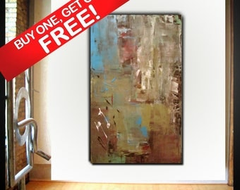Original large abstract painting palette knife wall art deco by Elsisy 50x30 Free US shipping