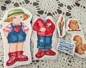 fabric Paper Dolls camp dolls | ready to cut out clothes + camp gear | girl Play Proof doll | quiet book dollies vintage | marshmallows owl