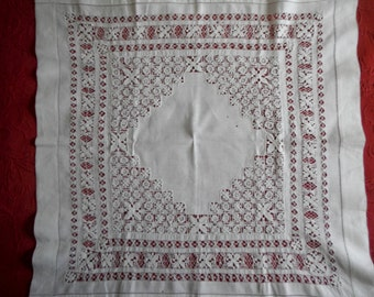Vintage Cotton Tablecloth Tea Cloth with Very Fine Hand Done Drawn Work