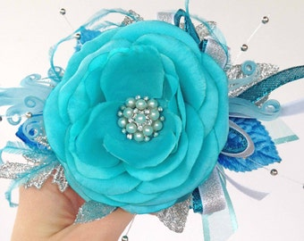Teal/Turquoise and Silver Corsage with matching Boutonniere for your Prom