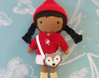 "Handcrafted STUDIO DOLL 15"" - Girl in the Red Riding Hood Jacket with Wolf Purse. Handmade, Doll, Girl, Toy, Plush, Children, Gift"