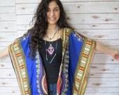 Silk Dashiki Hippie Print Festival Bohemian Woodstock Kimono Sweater Jacket Womens Clothing Boho
