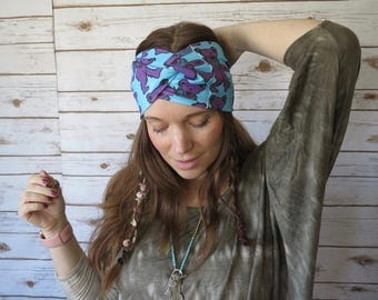 Grateful Dead Dancing Bear Purple Turquoise Wide Print Bohemian Boho Hippie Yoga Headband Turban Hair Wrap Upcycled Recycled Festival Summer