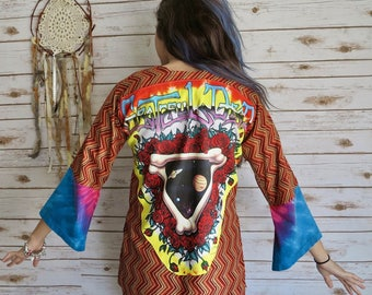 Grateful Dead Space Your Face Bohemian Festival Embroidered Bell Sleeve Kimono Sweater Jacket Size XS