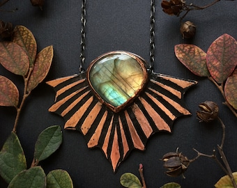 Labradorite and Copper Necklace, Abstract Wing design, handmade by Jamie Spinello