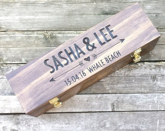 Custom wooden wine box, heart and arrow, love letter ceremony, unity box, memory box, wedding wine box, housewarming or anniversary gift