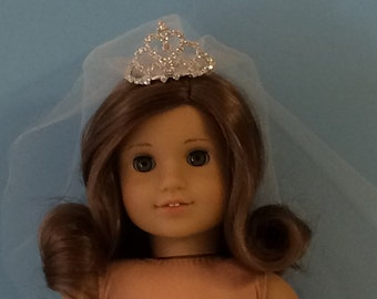 Doll Communion or Wedding Veil with Rhinestone Tiara # 0011
