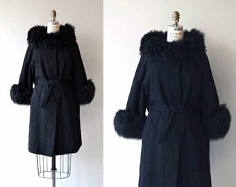 Trillby sack coat | vintage 1960s wool coat | black 60s faux fur coat