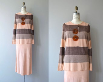 Arts Society knit set | vintage 1930s knit dress | 30s knit sweater and knit skirt