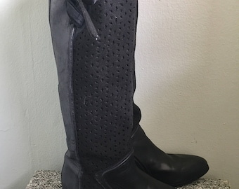 Vintage tall black leather riding boots perforated size 38 7.5/8