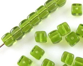 Czech Glass Cube Beads-OLIVINE GREEN 5mm x 6mm (30)