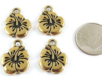 TierraCast Pewter Charms-GOLD HIBISCUS FLOWER (4)