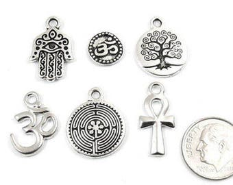 TierraCast Pewter Charms-SILVER SPIRIT MIX (6 Pieces)