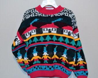 Vintage Kids Graffiti School Sweater Retro