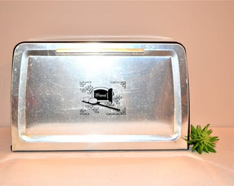 Vintage Metal Bread Box with Kitsch Graphics