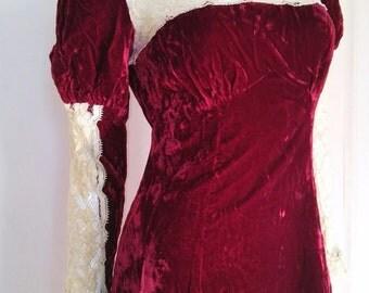 Vintage 70's Velvet Juliet Dress Size Xsmall