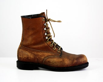 Unisex Made in USA Wolverine Brown Leather Vintage Work Boots