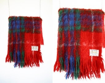 Vintage Super Quality Chardon Mohair Products Made in England Red Plaid Retro Throw Blanket