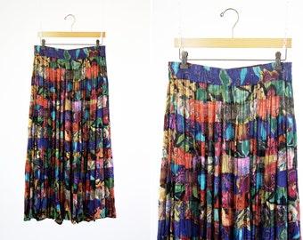 BIBA Brand Vintage Ruffled Layer Multi Color Funky Pattern Woman's Retro Full Length Skirt
