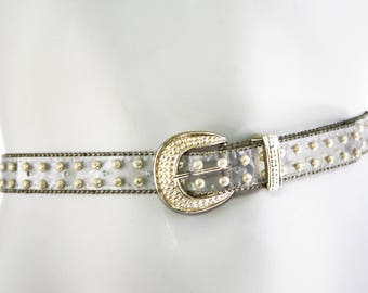 80's Vintage Clear Plastic Acrylic Belt with Gold Metal Studs and Gold Buckle