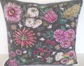 """20"""" x 20"""" Square Throw Pillow Cover Floral Botanica Meadow Flowers Charcoal Grey Pink Green French Country Rustic Gypsy Couture Bohemian"""