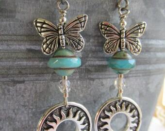 Sunshine and Butterflies Earrings, Sun earrings, Turquoise Czech Beads, Earrings, Butterfly, Tracee Dock, The Classic Bead