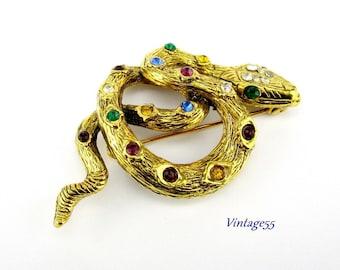 Snake Brooch Rhinestone Gold tone