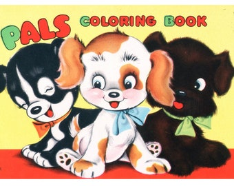 Digital | Print at Home | Pals Coloring Book Vintage Retro 1950's
