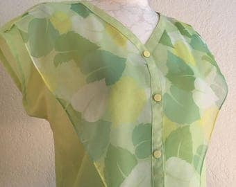 Vintage 70s/80s Mint Green Summer Blouse
