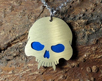 Skull Pendant Necklace, Fanged Skull, Vampire Skull, Pendant, Skeleton, Goth Jewelry, Vampire Pendant, Men Or Women, Vampire Killer