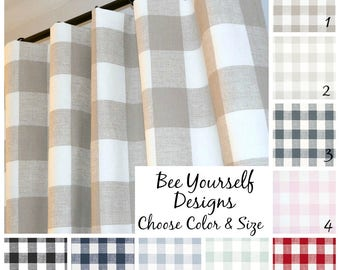 Buffalo Check Curtains • Pair of Pole Rod Pocket Panels • Premier Prints Anderson Gingham Large Checker -  Choose Color and Size
