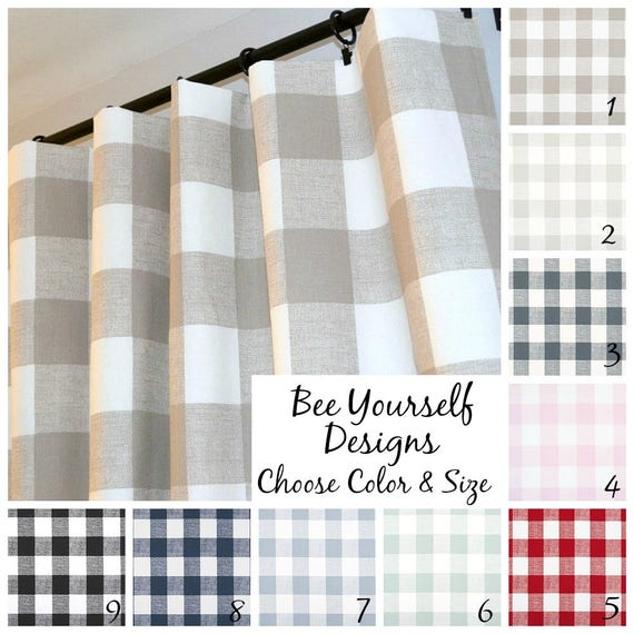 Buffalo Check Curtains Pair of Rod Pocket Panels Farmhouse