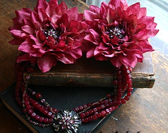 Raspberry Mum Headdress - Belly Dance, Tribal Fusion, Red, Pink, Rhinestone, Bead, Fair, Renaissance Festival, Princess