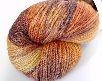 SALE! Pumpkin Spice - Semi-Variegated - Hand Dyed Merino and Tencel Sock Yarn - Glisten