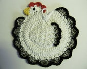 Crochet White And Black Chicken/Rooster Potholder - 100% Cotton - Or Chicken/Rooster With Nylon Scrubbie Set