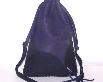 "Drawstring Leather Medicine Bag..Tarot / Ogham Staves..6"" x 8""..PURPLE"