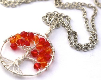 Handmade Autumn Tree of Life - Long Beaded Swarovski Crystal Wire Necklace