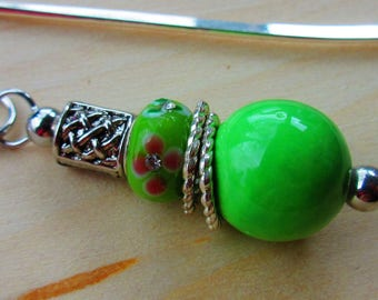 Lime Green Celtic Bookmark. Interchangeable Beaded Bookmark. Irish Bookmark.