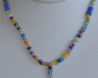 """On sale Pretty Handmade Multi-Colored Pottery Pendant Glass Beaded Necklace, 15"""", Teen Jewelry (B8)"""