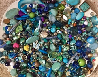 HUGE 1 pound 8 oz BEAD Mix Destash Findings Lot stone Glass Plastic Jewelry Making Inspiration Blue Green Turquoise