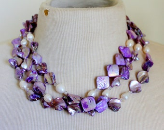 Purple Shell Genuine Pearl Multistrand Statement Necklace Beaded
